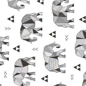 Elephants Geometric with Triangles Black&White Grey Rotated