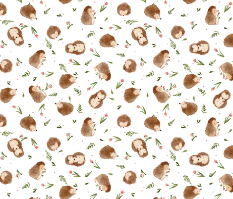 Hedgehogs fabric by kelseycarlsonart on Spoonflower - custom fabric