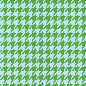 Houndstooth Baby Blue and Kelly Green