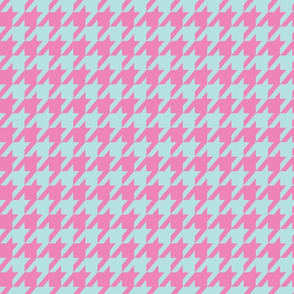 Houndstooth Spring Peony Pink and Pool Blue