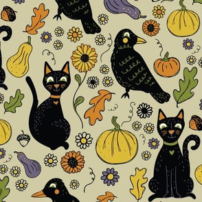 Black Cats and Ravens with Fall Leaves and Pumpkins, Big