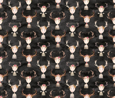 antler girls black fabric by katherine_quinn on Spoonflower - custom fabric