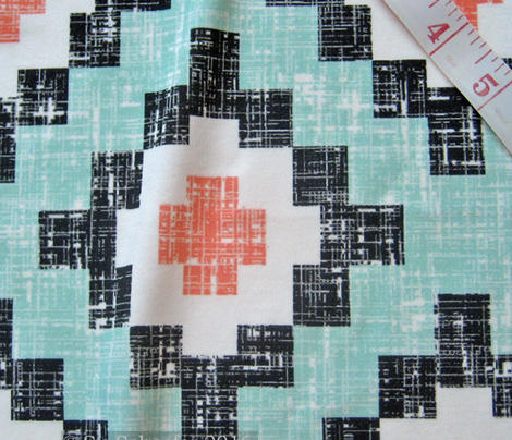 Mint + Coral Woven West by Southwest (limited palette) by Su_G_©SuSchaefer