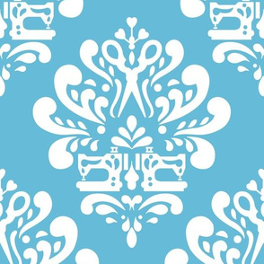 Sewing machine and scissors damask in blue