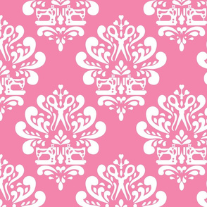 Sewing machine and scissors damask in pink