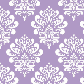 Sewing machine and scissors damask in purple