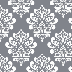Sewing machine and scissors damask in grey