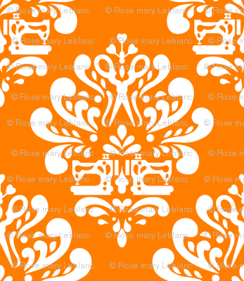 Sewing machine and scissors damask in orange