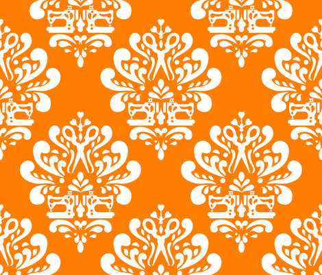 Sewing machine and scissors damask in orange fabric by rose_mary on Spoonflower - custom fabric