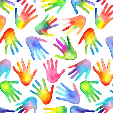 Rainbow Hands fabric by emeryallardsmith on Spoonflower - custom fabric