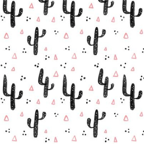 Pink and black cactus - Small pattern