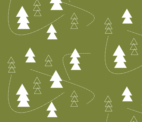 Over the River & through the Woods // holly fabric by buckwoodsdesignco on Spoonflower - custom fabric
