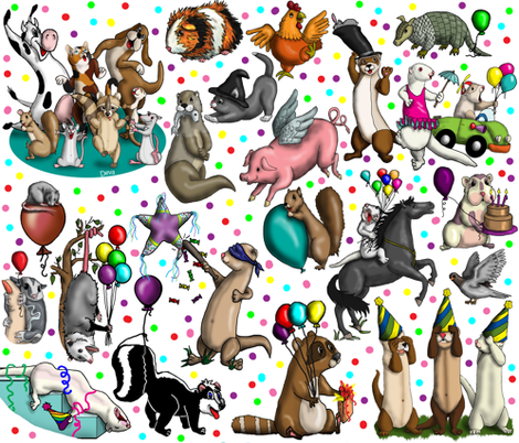Party_Animals fabric by deva_kolb on Spoonflower - custom fabric