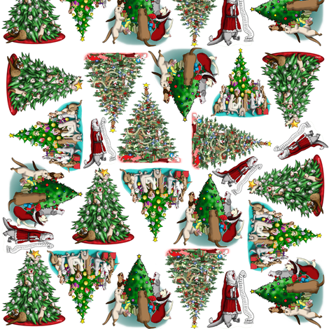 Santa_Tree_Ferrets__white fabric by deva_kolb on Spoonflower - custom fabric