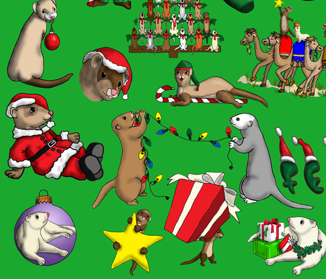 Christmas_Ferret_Green fabric by deva_kolb on Spoonflower - custom fabric