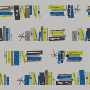Mid Century Bookworm (Blue & Lime)