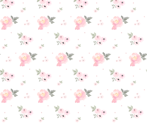 Sweet Blush Roses with Less Flowers fabric by shopcabin on Spoonflower - custom fabric
