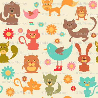 Cute Animals and Daisies - 8in (teal)