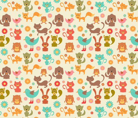 Cute Animals and Daisies - 8in (teal) fabric by studiofibonacci on Spoonflower - custom fabric