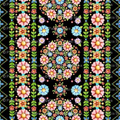 Millefiori Floral Vertical Stripe
