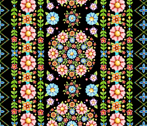 Millefiori Floral Vertical Stripe fabric by patriciasheadesigns on Spoonflower - custom fabric