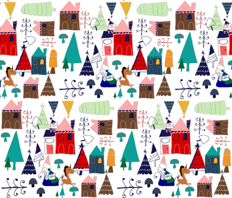 christmas unicorn houses fabric by bruxamagica on spoonflower custom fabric - Christmas Unicorn