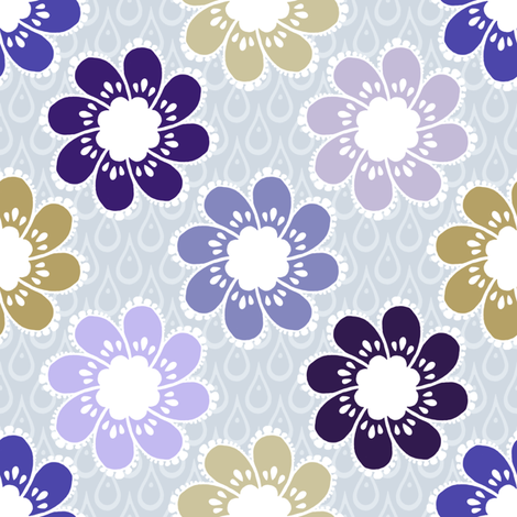 Rainy Day Flowers - Stone Violet fabric by siya on Spoonflower - custom fabric