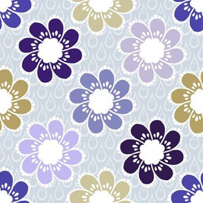 Rainy Day Flowers - Stone Violet