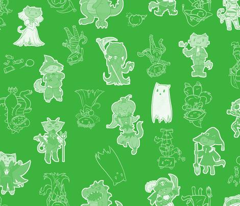 Halloween Kitties (Green) fabric by klawzie on Spoonflower - custom fabric