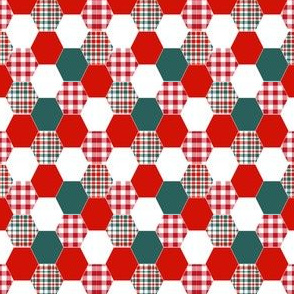christmas hexagon plaid simple cheater quilt quilting hexies