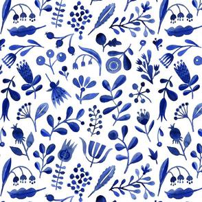 Indigo & Blue Folksy Flowers