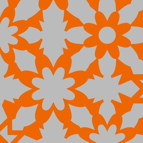 Floral Field - Orange Grey