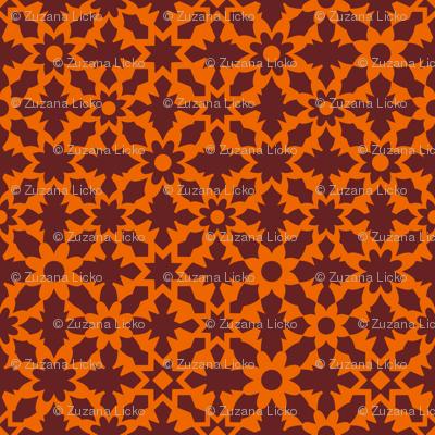 Floral Field - Orange Brown