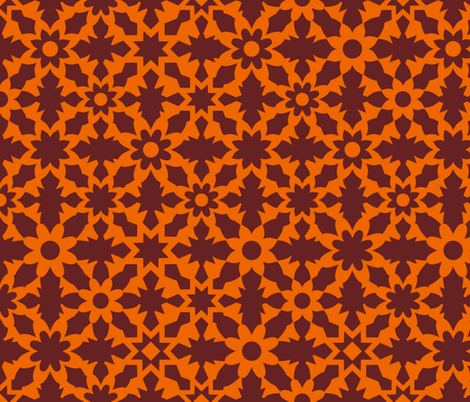 Floral Field - Orange Brown fabric by zuzana_licko on Spoonflower - custom fabric