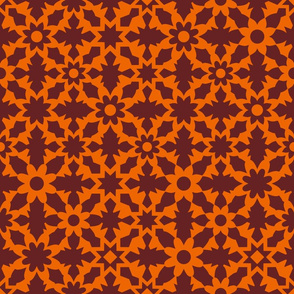 Floral Field - Orange Brown