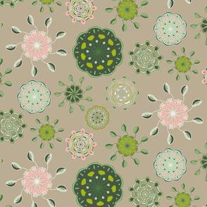 Folk Floral Cups on Tan_Miss Chiff Designs