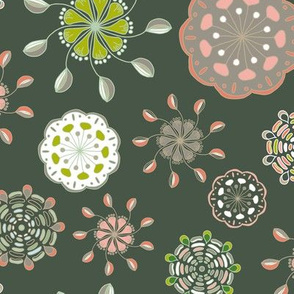 Folk Floral Cups on Dark Green_Miss Chiff Designs