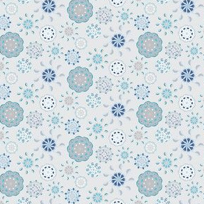 Scandinavian Abstract Flower || Navy Blue White Taupe Folk Floral Flower gray grey sky clouds  _Miss Chiff Designs
