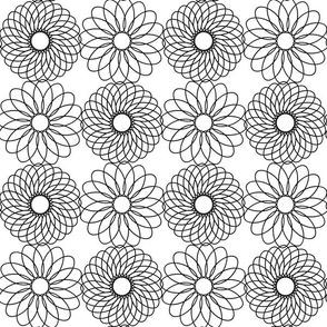 Floral Spirals - B+W