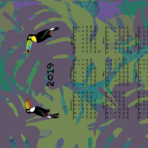 2019 Purple Toucan Calendar Tea Towel