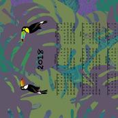 2018 Purple Toucan Calendar Tea Towel