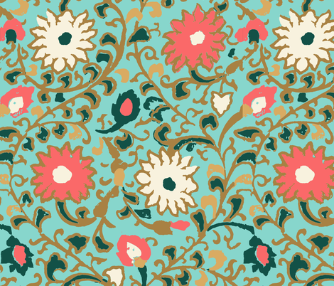 suzani_turquoise fabric by crystal_walen on Spoonflower - custom fabric