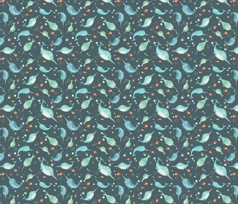 Narwhals fabric by kelseycarlsonart on Spoonflower - custom fabric