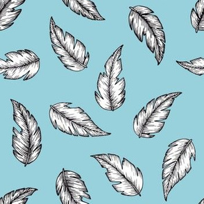 Leafy Feathers - blue