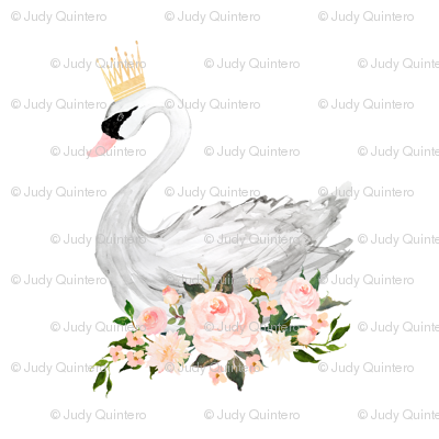 "8"" Swan with Roses in White"