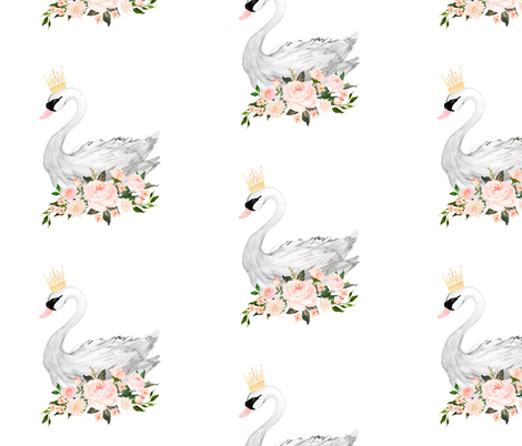 "8"" Swan with Roses in White fabric by shopcabin on Spoonflower - custom fabric"