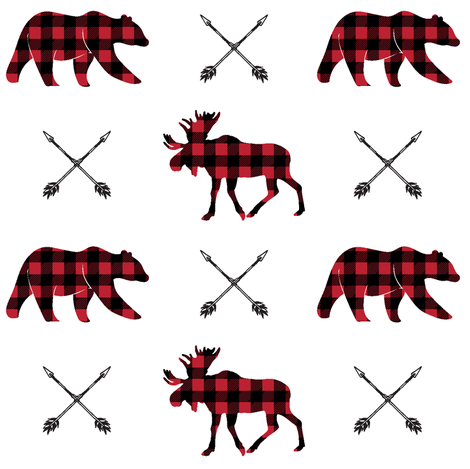 moose, bear, and arrows || the happy camper collection fabric by littlearrowdesign on Spoonflower - custom fabric