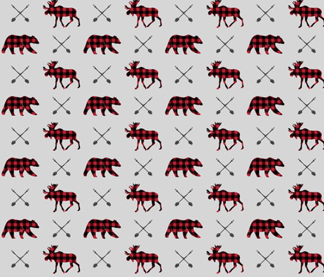 moose, bear, and arrows (fog) || the happy camper collection fabric by littlearrowdesign on Spoonflower - custom fabric
