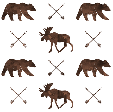 moose, bear, and arrows  || watercolor brown fabric by littlearrowdesign on Spoonflower - custom fabric
