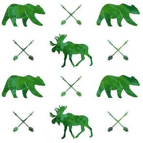moose, bear, and arrows    watercolor green